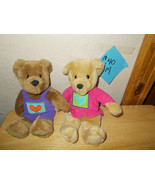 """Hallmark 10"""" Bears with PUrple Overall with Heart boy and Girl Plush - $16.99"""