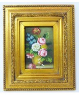 """Oil painting on board flowers in vase w/gold intricate vintage frame 8"""" ... - $62.36"""
