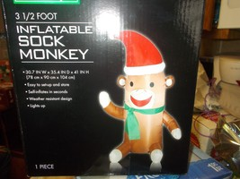 Christmas Airblown Inflatable Sock Monkey waving NIB - $29.99