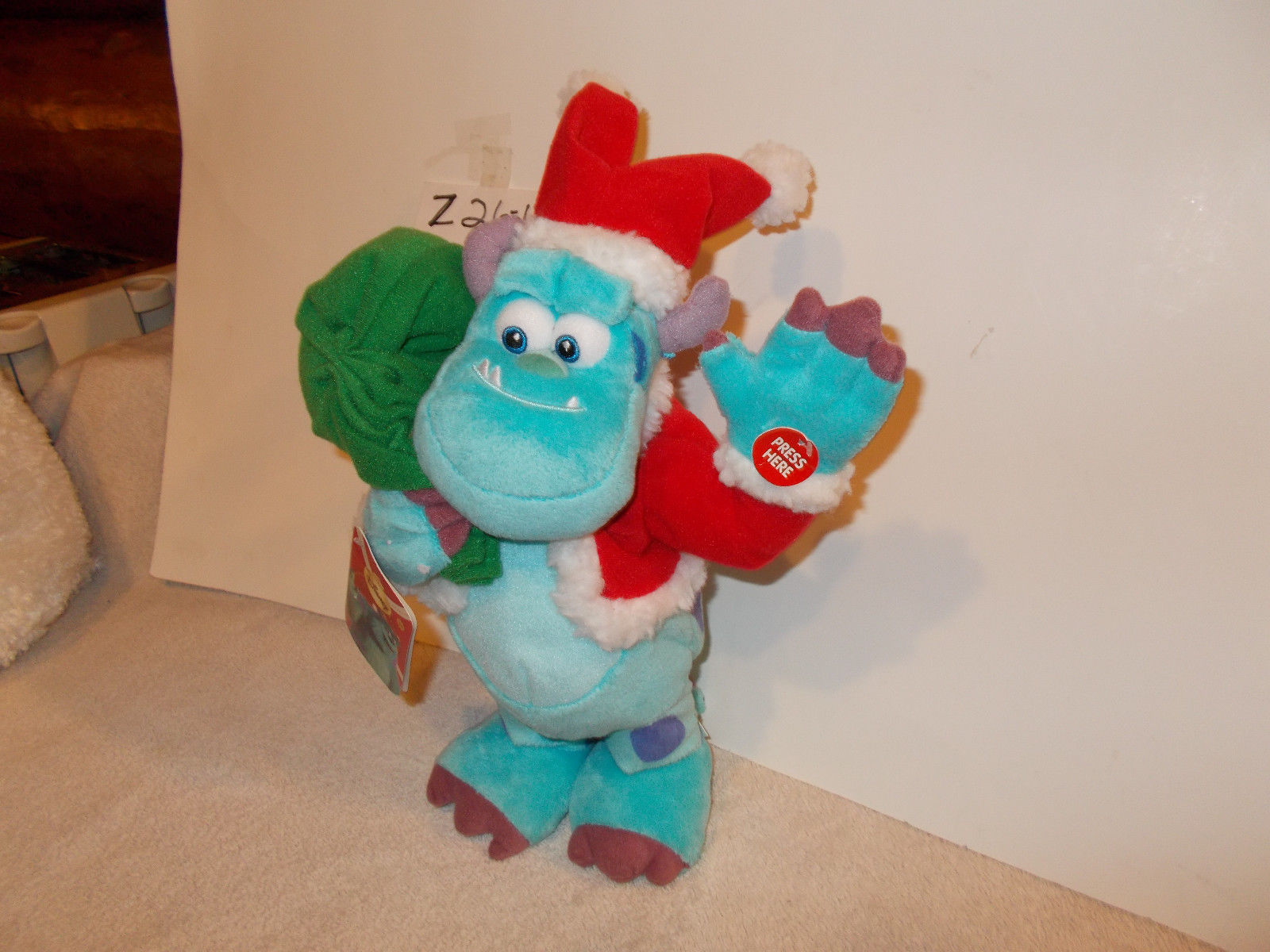 disney monsters Inc Santa Sully Animated Musical plush