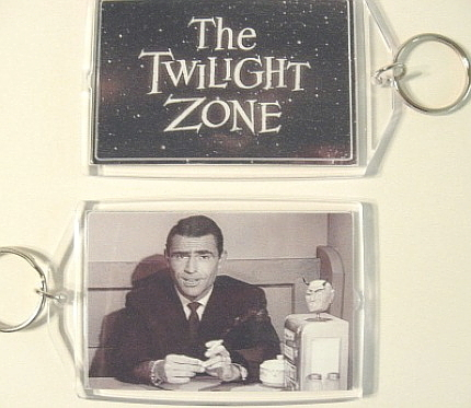 THE TWILIGHT ZONE KEY CHAIN ROD SERLING WILLIAM SHATNER KEY RING DEVIL HEAD RARE