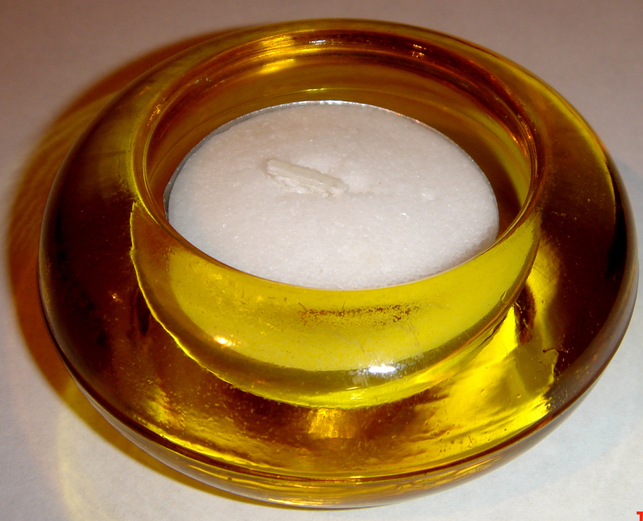 Primary image for Small Round, Yellow Glass Tea Light Holder + Tea Light