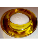 Small Round, Yellow Glass Tea Light Holder + Tea Light - $8.00