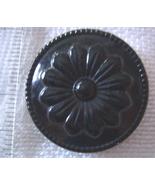 Large black floral celluloid button - $7.50