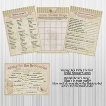 Vintage Tea Party Bridal Shower Games, 4 game cards per set - $1.25