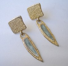 Gold Blue Gemstone Earrings Textured Metal Pierced Post Dangle Square Drop - $30.00