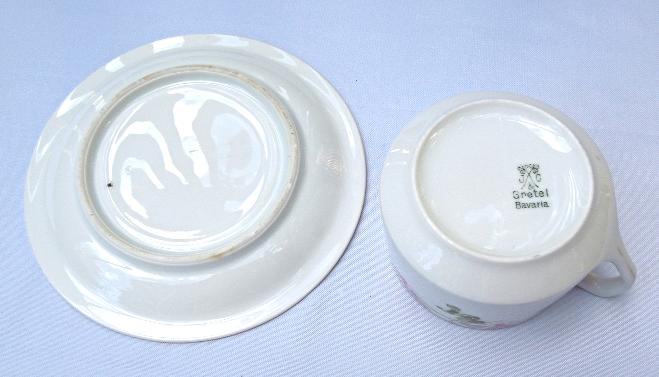 Vintage Gretel Bravaria Porcelain Cup and Saucer - With Floral Design  #5812