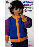 BRIGHT DELIGHTS KIDS KNITS SIZES 1 TO 3 PATONS 694 KNITTING WORSTED - $4.98
