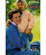 AFAMILY KNITS MOM DAD KIDS SWEATERS CARDIGANS PATONS #648 BEEHIVE CHUNKY... - $4.98