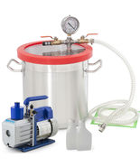 New 3 Gallon Vacuum Chamber w/ 4 CFM 2 Stage Pump Kit Extracts Resins Mo... - $299.99