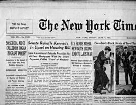 The New York Times Newspaper- Friday, June 9, 1961 - $4.95