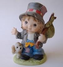 Boy Hobo Statue Figurine Puppy Dog Base Painted Porcelain Animal Pet Hat... - $11.00