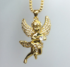 "Mini Gold Plated Angel Pendant And 24"" Box Chain Necklace - $24.99"