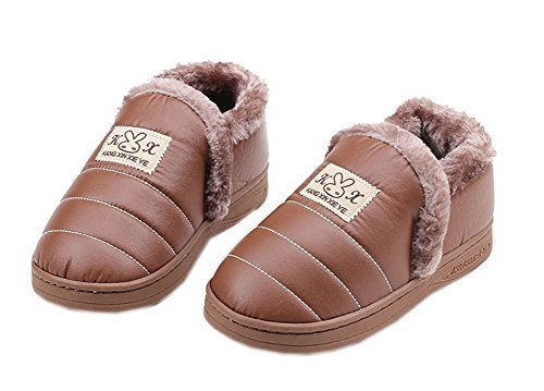 Faux Leather Slippers for Boys Waterproof Brown Slippers 4-6 Yrs