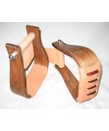 """2"""" wide All Purpose Stirrups Nettles saddle horse new wooden  leather  r... - $89.00"""