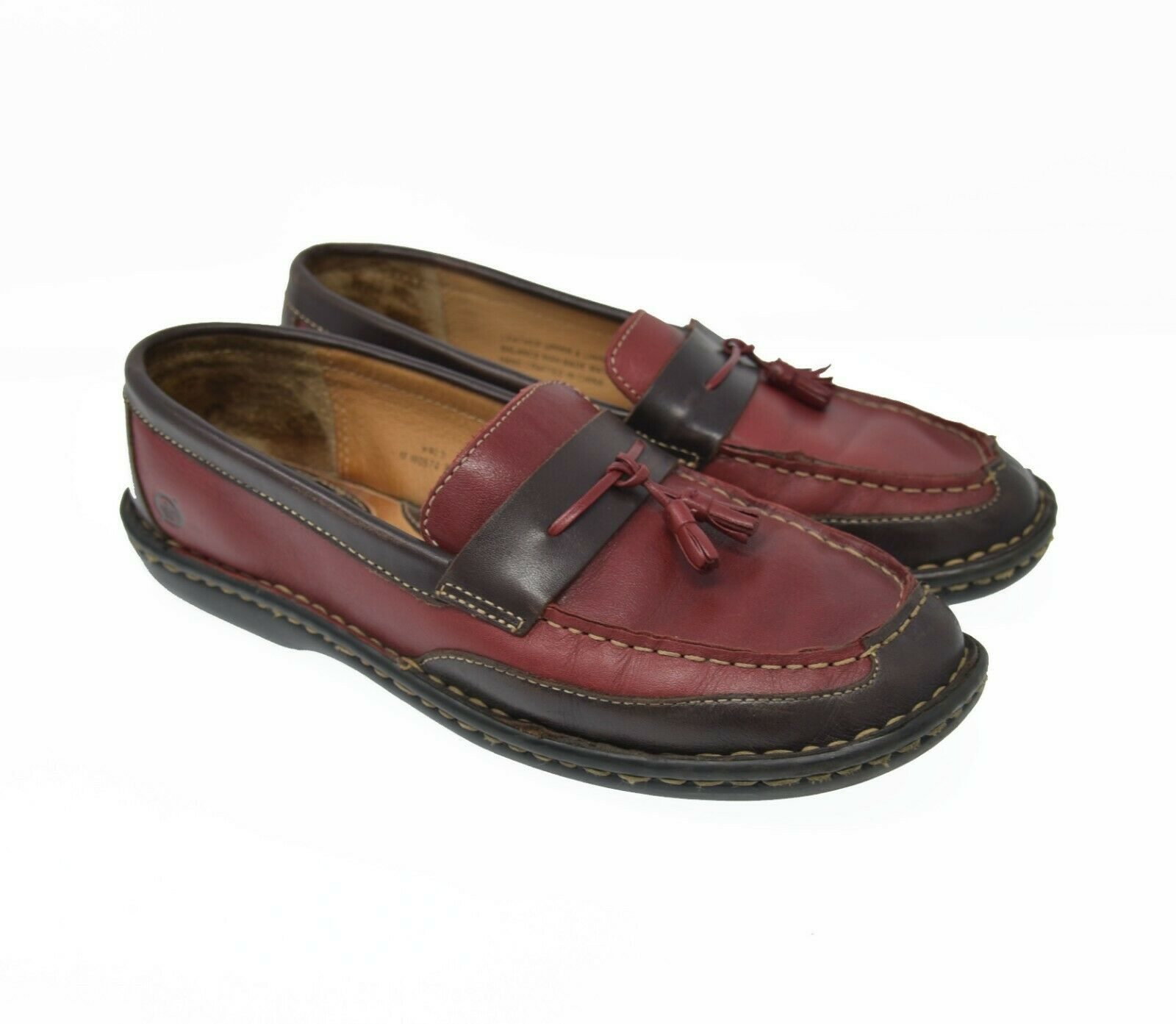 Born Women's Sz 9 EU 40.5 Red Brown Leather Slip On Tassel Loafer Comfort Flats