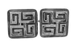Vintage 1960s 70s Greece Greek Key Handmade Sterling Silver Modernist CUFFLINKS - $245.00