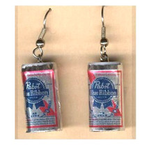 Funky PABST BEER CANS EARRINGS Sports Bar Drink Brewery Party Costume Je... - $7.93