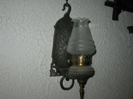 ANTIQUE RARE SILVER PEWTER ELETRIC OIL LAMP WAL... - $247.50