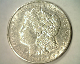 1889 MORGAN SILVER DOLLAR ABOUT UNCIRCULATED AU NICE ORIGINAL COIN BOBS ... - $44.00