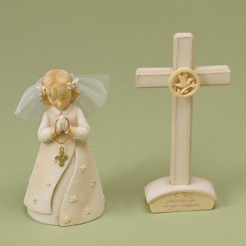 Enesco Foundations Communion Girl Set with Cross Figurine, 4-1/2-Inch