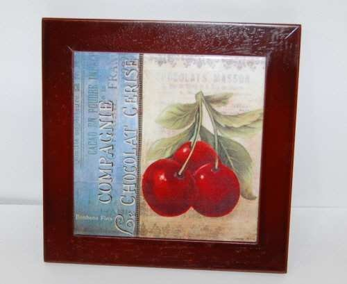 Cypress Home 39231523 Ceramic Wood Trim Trivet Cherries