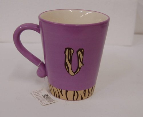 Russ Berrie 37768 Gone Wild Letter V Mug Purple Brown Tiger Stripes
