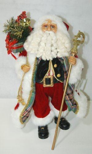 "17"" Plaid Santa W/Staff Fig"