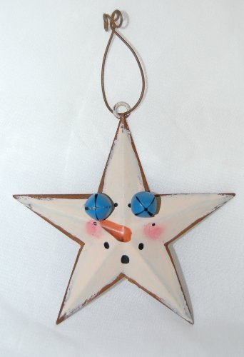 Metal Star Christmas Ornaments 8 Set Snowman Theme 2 Blue Bells 3 Inches