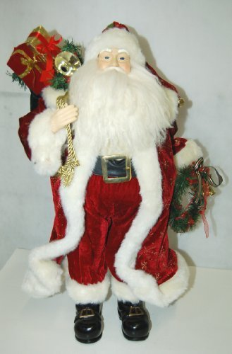 American Silkflower Large Very Detailed Santa Figurine Holding Christmas Wreath