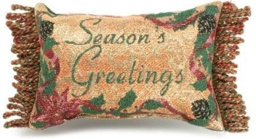 Manual 12.5 x 8.5-Inch Decorative Throw Pillow, Season's Greetings