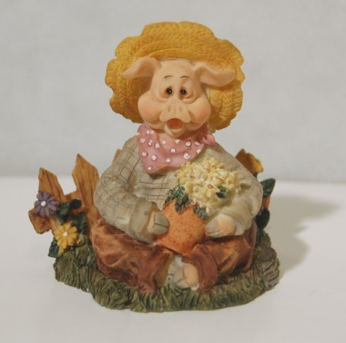 Youngs Collection 33918 Farm Traditions Pig Gardener Figurine
