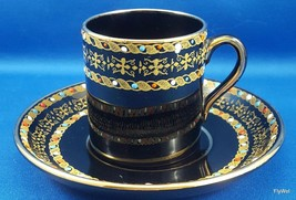 Antique Gibson Sons Italian Border Demitasse Cup Saucer Enameled Dots on Black - $44.55