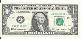 2009 One Dollar Star Note * Circulated (J00340548*) - $2.25