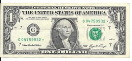 2006 One Dollar Star Note * Circulated (G04759932*) - $2.25
