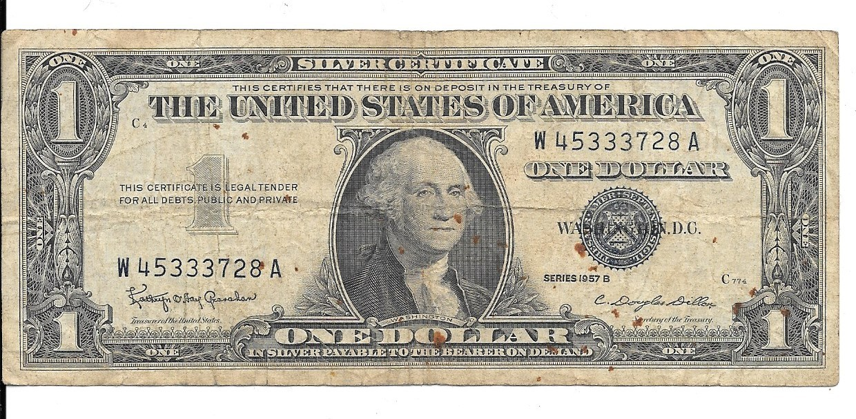 1957b One Dollar Silver Certificate And 50 Similar Items