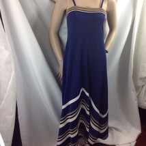 Vtg Navy Gold Lurex White Chevron Stripe Maxi Dress Polyester Disco Queen M - $49.01