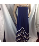 Vtg Navy Gold Lurex White Chevron Stripe Maxi Dress Polyester Disco Queen M - $49.01