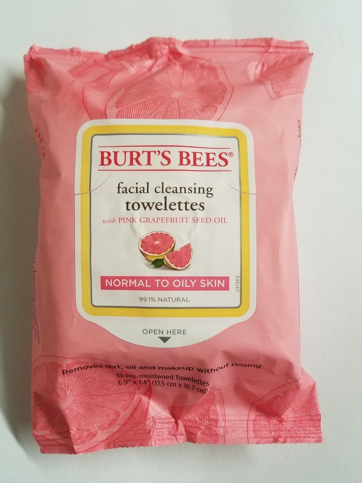 Burt's Bees Pink Grapefruit Facial Cleansing Normal-Oily Towelettes 30 Count x5
