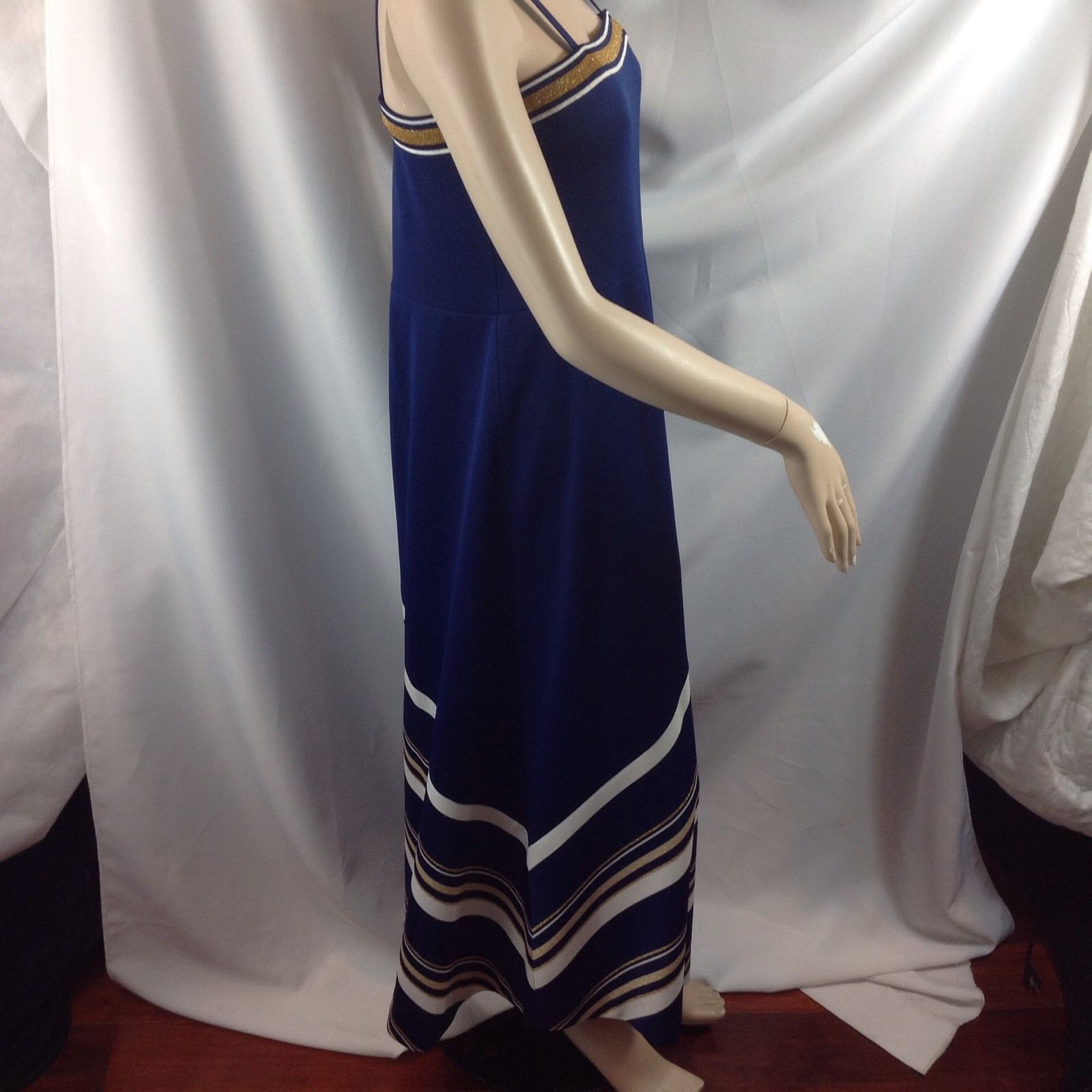 Vtg Navy Gold Lurex White Chevron Stripe Maxi Dress Polyester Disco Queen M