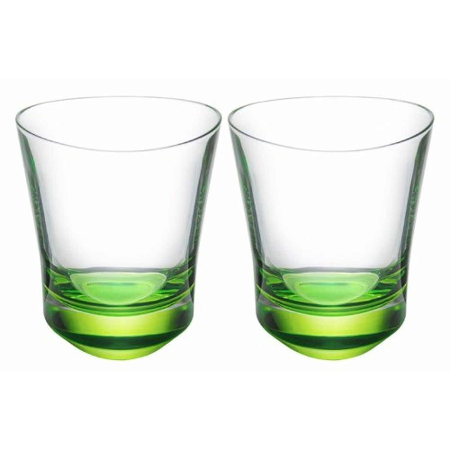 ORREFORS Tre Double Old-Fashioned Tumbler Set of 2  Lime