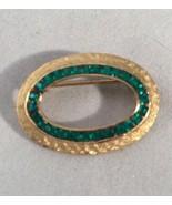Vintage Kramer Green Rhinestone Pin Oval Goldtone Brooch - $19.28