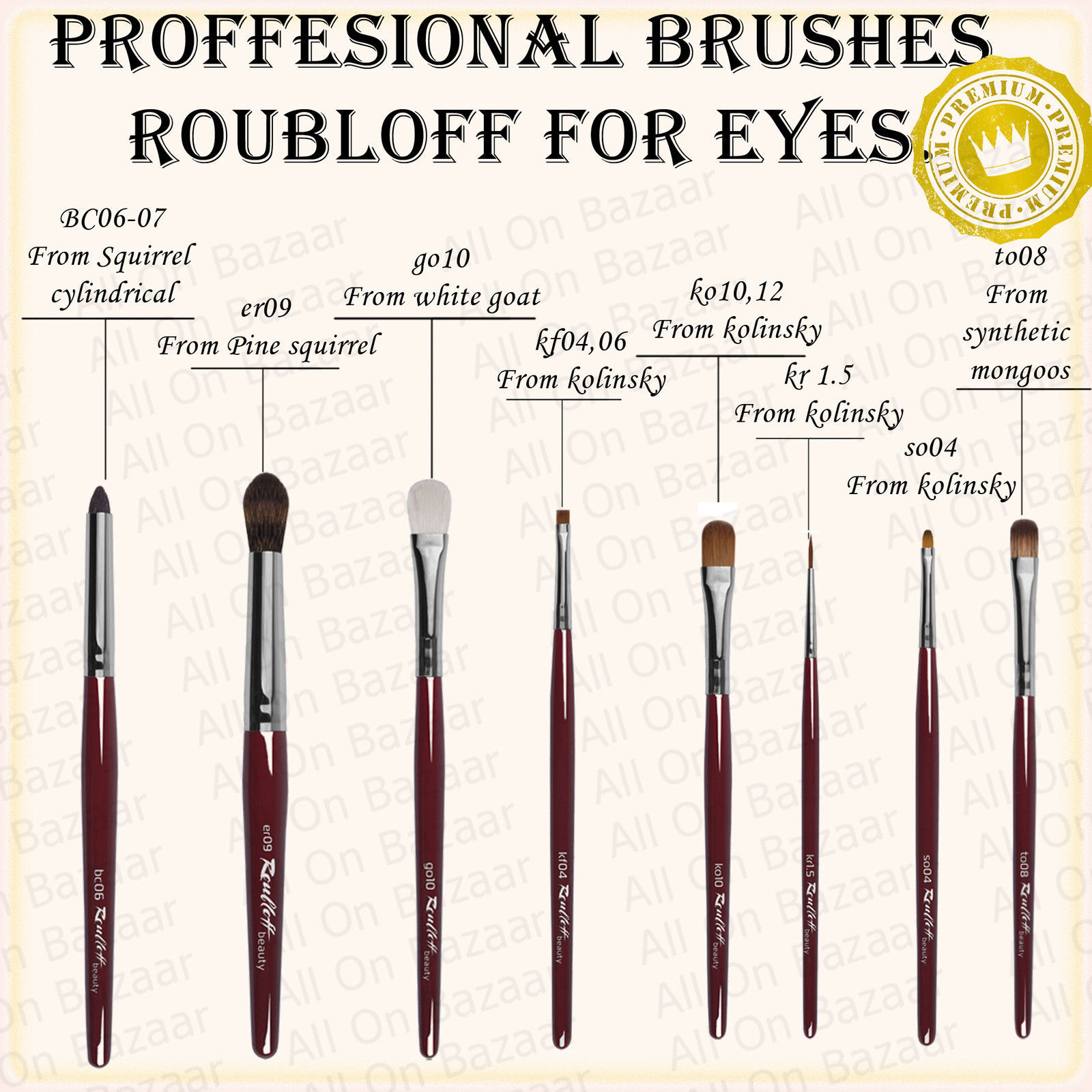 Primary image for PROFESSIONAL Make-up BRUSHES FOR eyes Roubloff brand