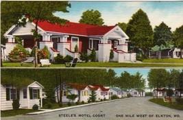 1940s Steele's Motel Court US 40 At Elkton Maryland MD Linen Postcard - $2.99