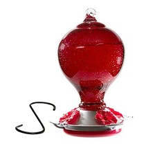 Best Home Products Blown Glass Hummingbird Feeder - Cherry Blossom Red - $31.33