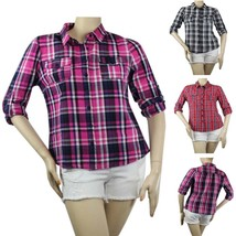 3/4 Sleeve Check Print Collar Y-SHIRT w/Pockets,Pleated Back Cute Casual... - $17.99