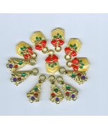 12 Christmas Charms Costume Jewelry Cards  Crafts Beads - $3.20
