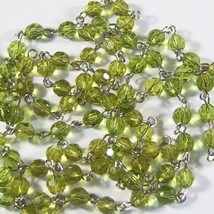 1 Foot Light Pea Green Rosary Chain Faceted Glass Beads Linked Rosary 6m... - $5.99