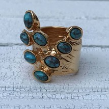 Turquoise Stones Knuckle Ring SIZE 6.5 Boho Gold Plated Blue Brown Cabochon  - $26.00