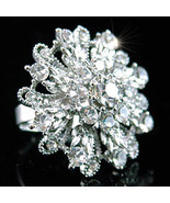 Drag Queen Flower Bling Ring w/ Swarovski Crystal SR048 - $9.99